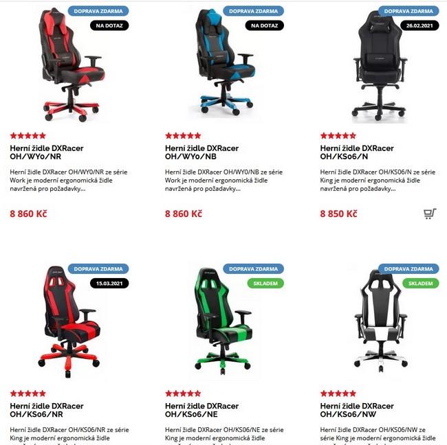 DX Racer herní židle
