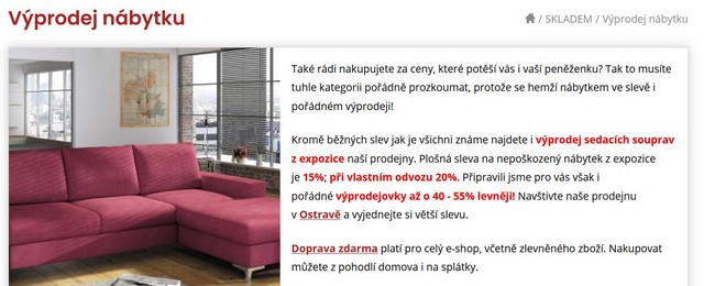 Sedačky nábytek výprodej
