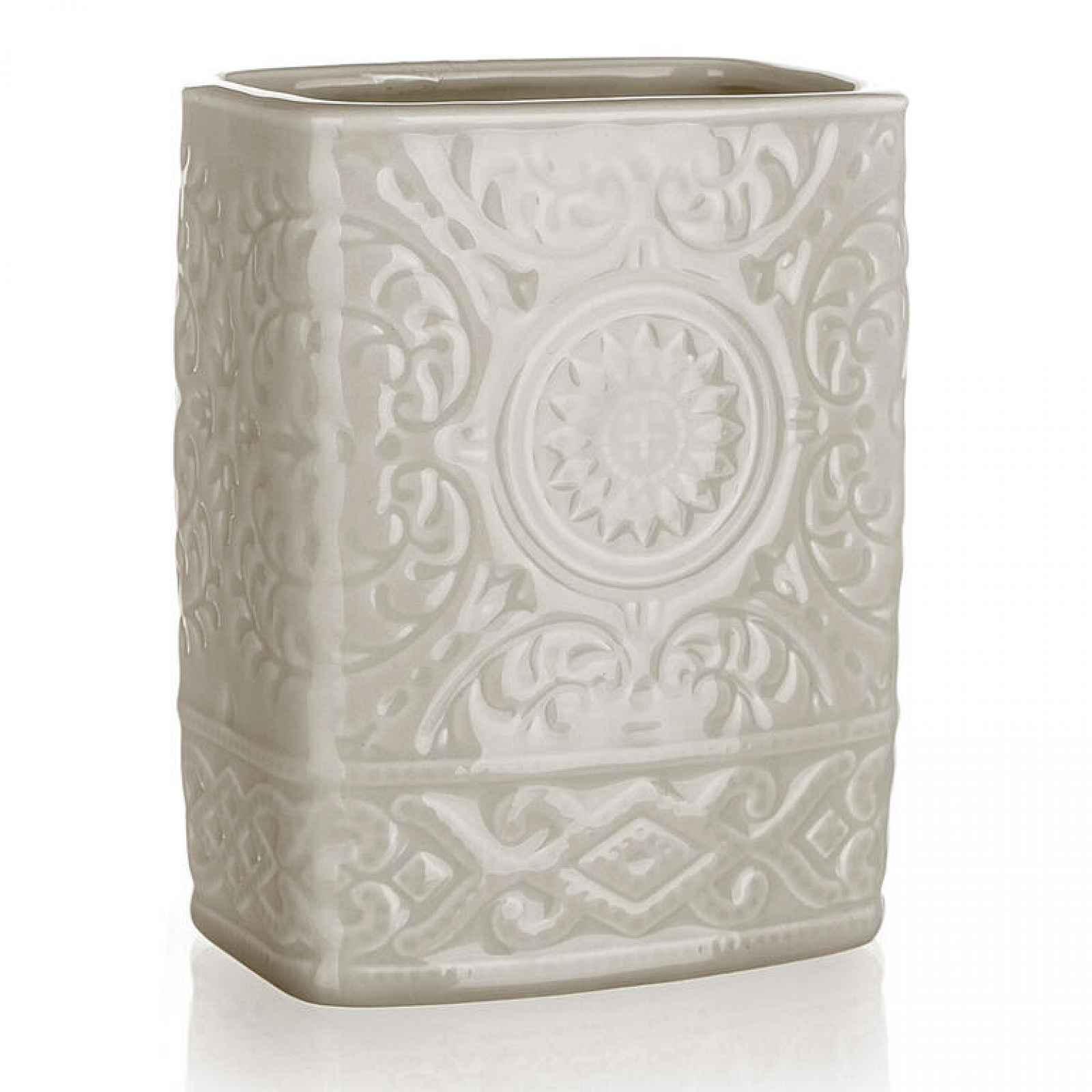 Kelímek na kartáčky keramický šedobéžový