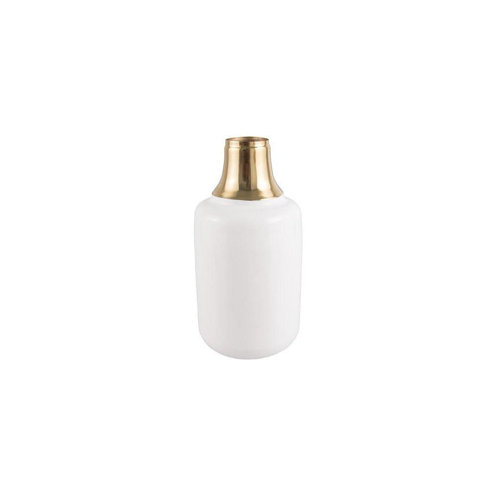 Bílá váza s detailem ve zlaté barvě PT LIVING Shine, výška 28 cm