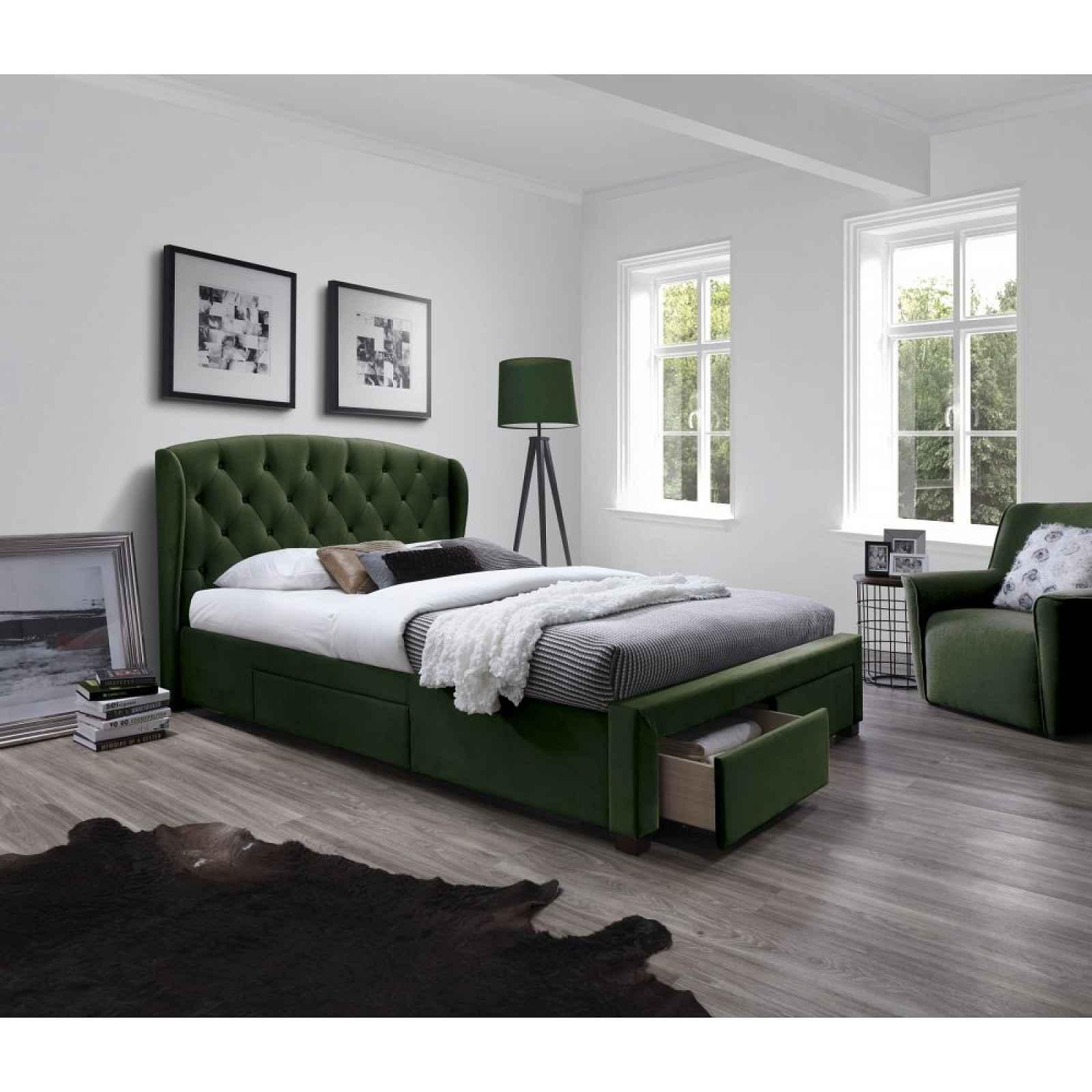 Postel SABRINA 160 s úložným prostorem Halmar Tmavě zelená