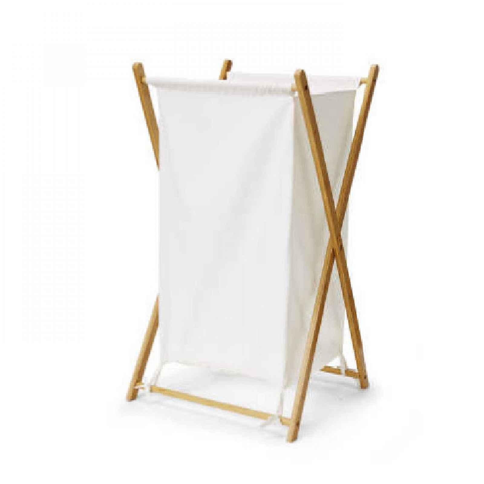 Koš na prádlo AVELINO lakovaný bambus/šedá Tempo Kondela