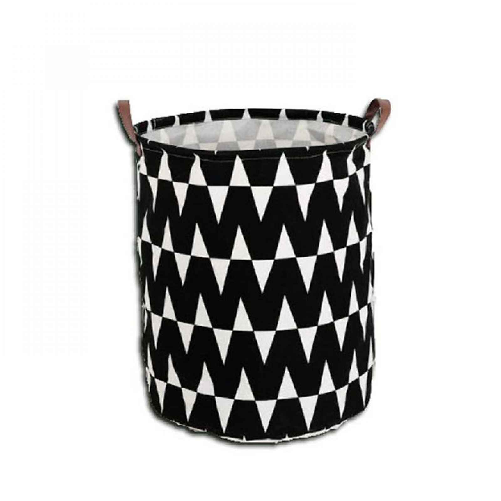 Koš na prádlo PLEJO TYP 1 černý / vzor bílá Tempo Kondela