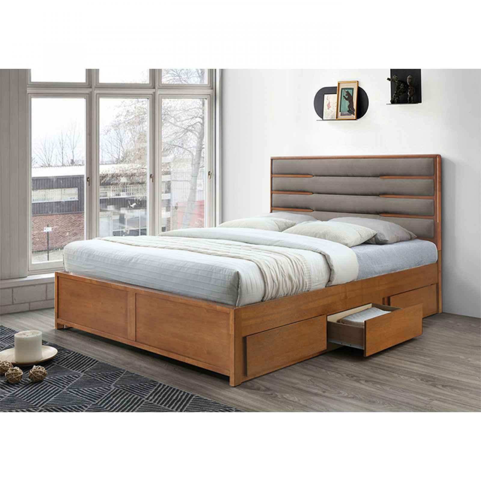 Manželská postel BETRA ořech / béžová Tempo Kondela 160 x 200 cm