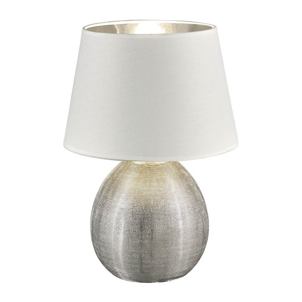 Bílá stolní lampa z keramiky a tkaniny Trio Luxor, výška 35 cm