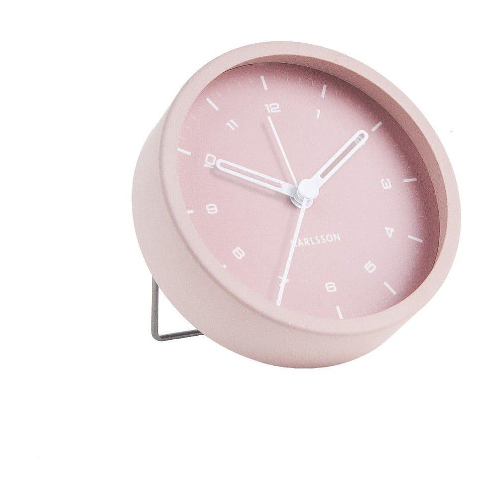 Světle růžový budík Karlsson Tinge, ø 9cm
