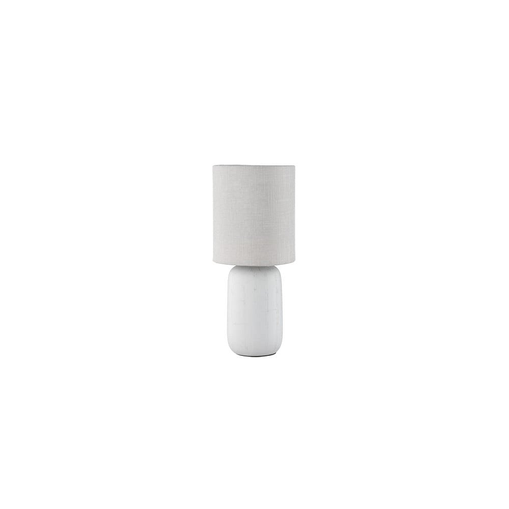 Šedá stolní lampa z keramiky a tkaniny Trio Clay, výška 35 cm