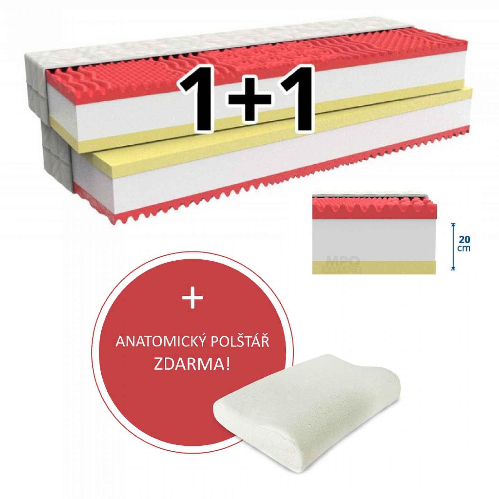 MPO Matrace Matrace 1+1 MEMORY COMFORT 2 ks 80 x 200 cm Potah matrace: Easy Clean - strečový