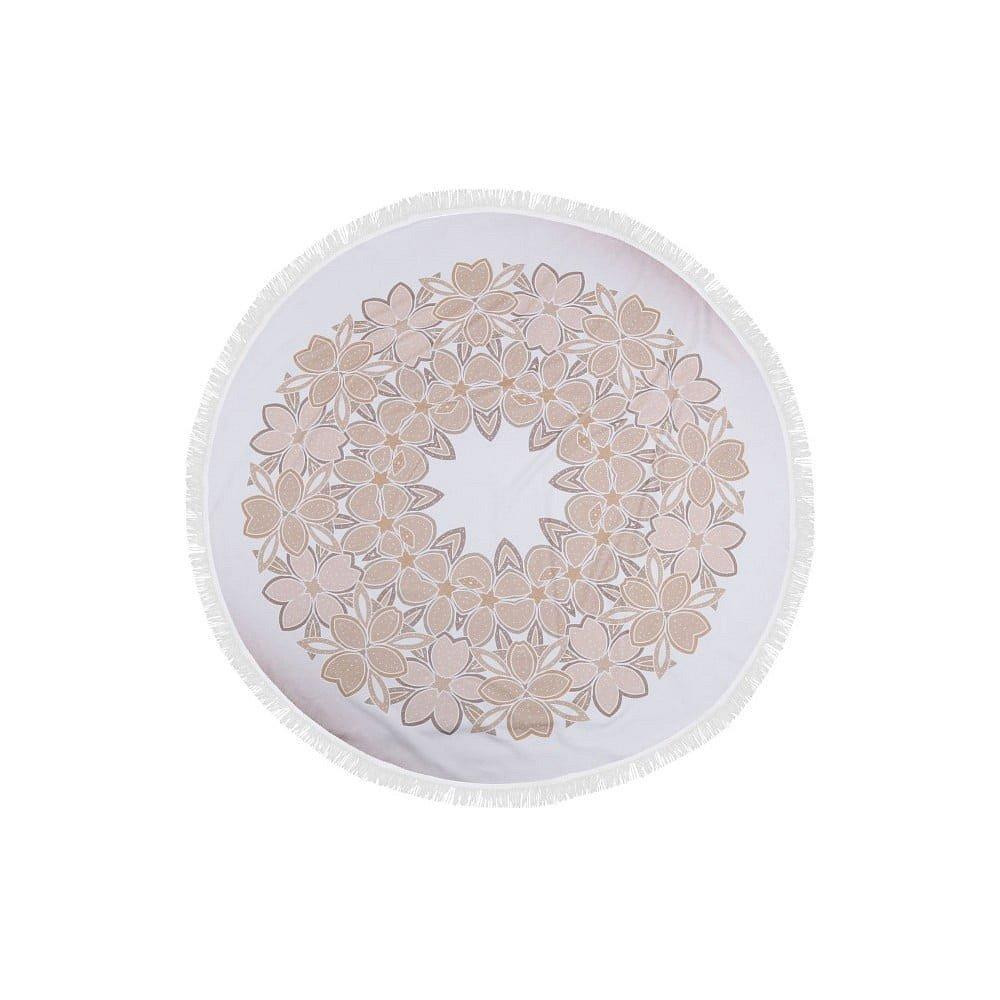 Barevná plážová osuška ze 100% bavlny Flora, ⌀ 150 cm