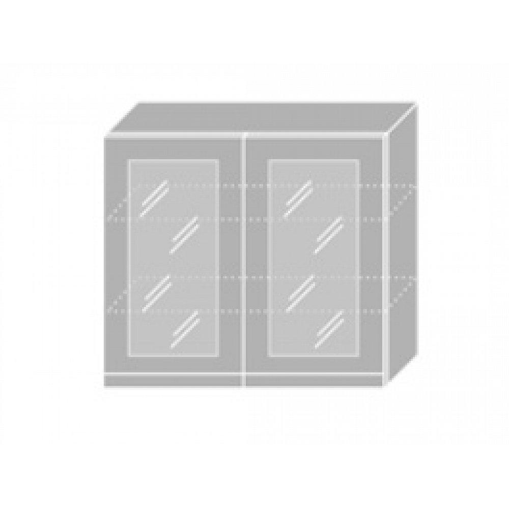 EMPORIUM, skříňka horní prosklená W3S 80, korpus: bílý, barva: grey stone
