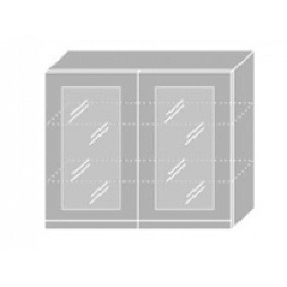 EMPORIUM, skříňka horní prosklená W3S 90, korpus: bílý, barva: grey stone