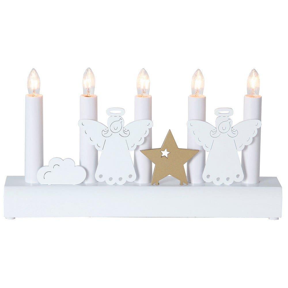 Bílý svícen Best Season Angels, výška 15 cm