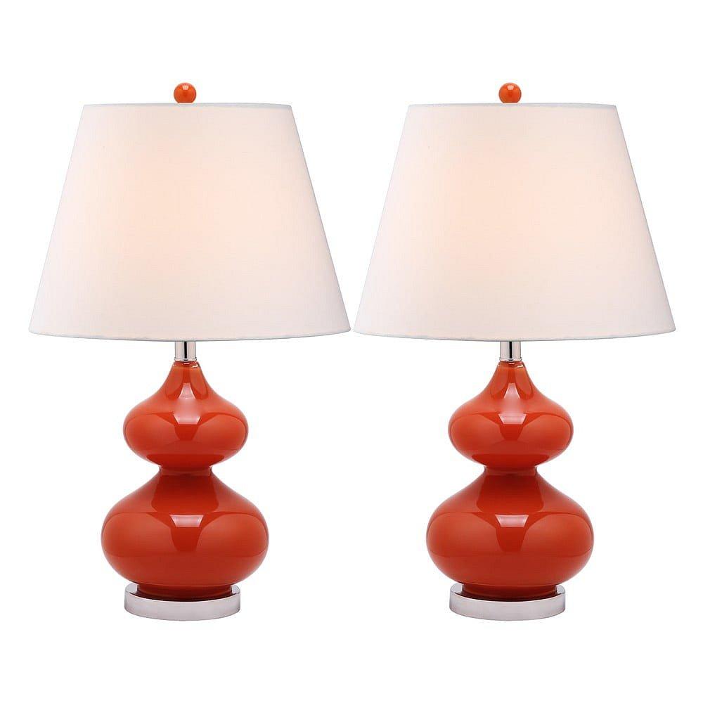 Sada 2 stolních lamp s červenou základnou Safavieh Gabriel