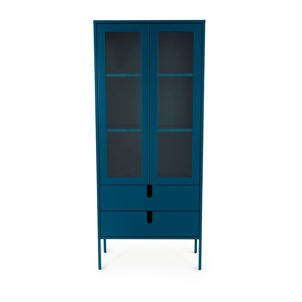 Petrolejově modrá vitrína Tenzo Uno, šířka 76cm