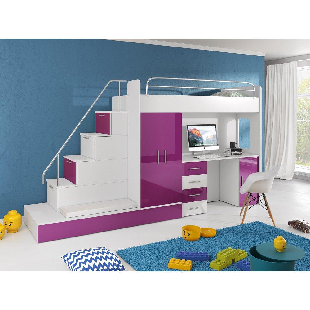 Patrová postel se skříní a psacím stolem RAJ 5, bílá/fialová