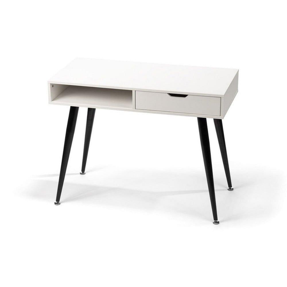 Bílý psací stůl s černým kovovým podnožím loomi.design Diego, 100x50cm