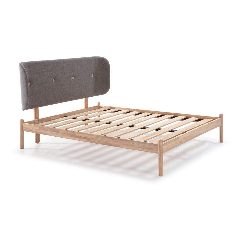 Dřevěná postel s tmavě šedým čelem Marckeric Ellie,140x200cm