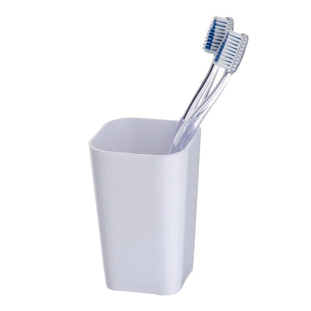 Bílý kelímek na zubní kartáčky Wenko Candy
