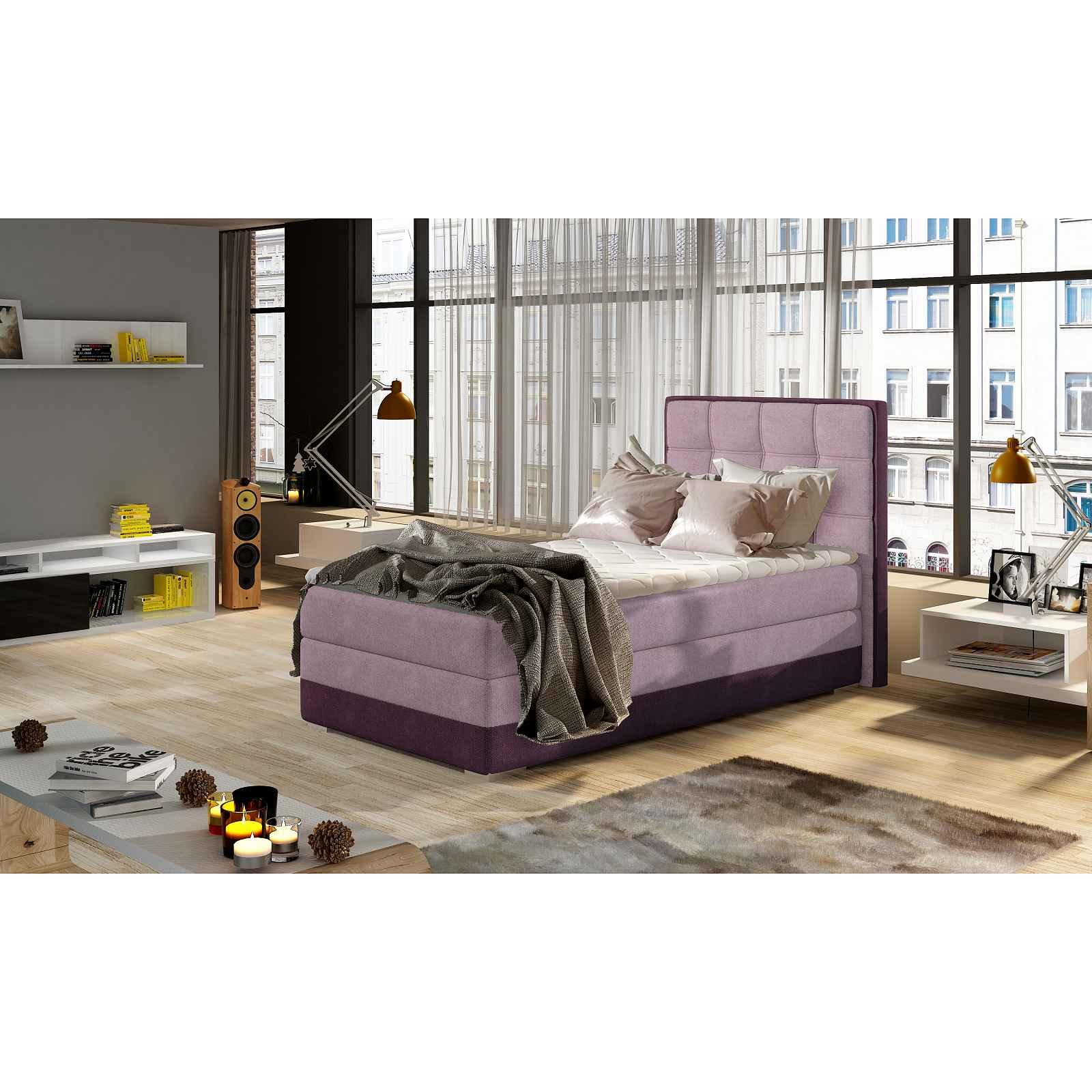 Moderní box spring postel Adria 90x200, fialová  Roh: Orientace rohu Pravý roh HELCEL