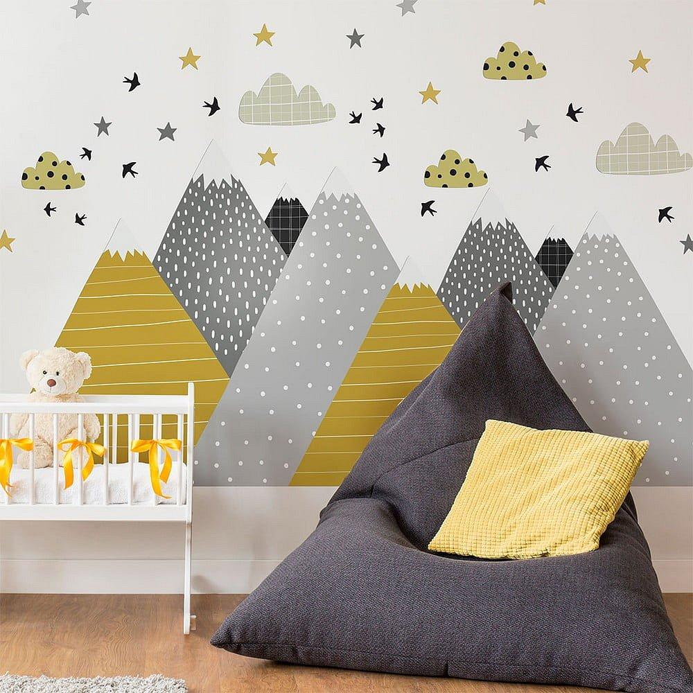 Nástěnná samolepka Ambiance Giant Kid Sticker Scandinavian Mountains Henrika