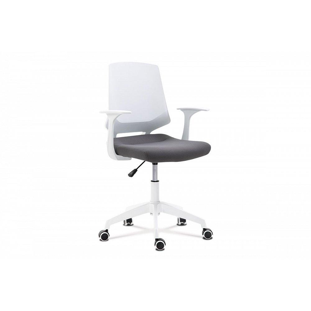 Kancelářská židle, sedák šedá látka, bílý PP plast, výškově nastavitelná KA-R202 GREY
