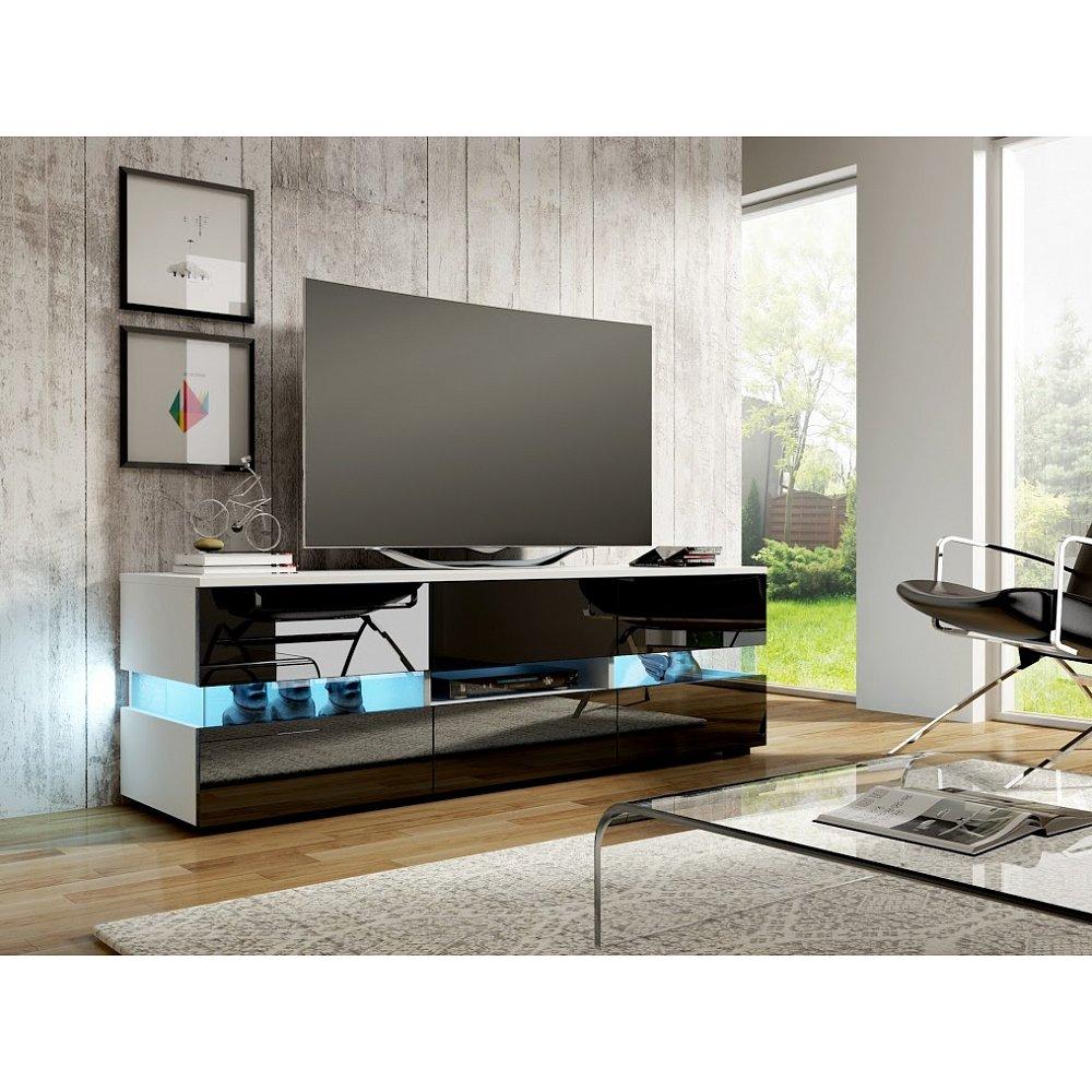 TV stolek INTER, bílá/černý lesk