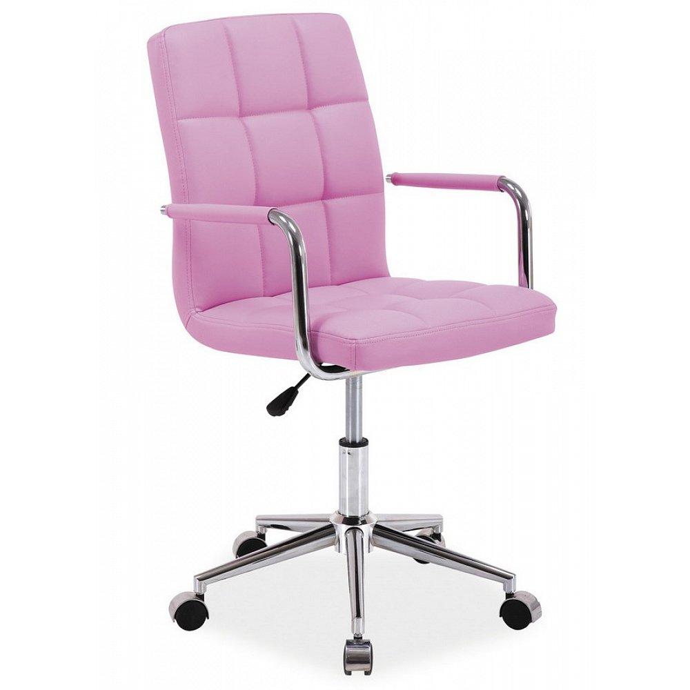Kancelářská židle Q-022 růžová ekokůže