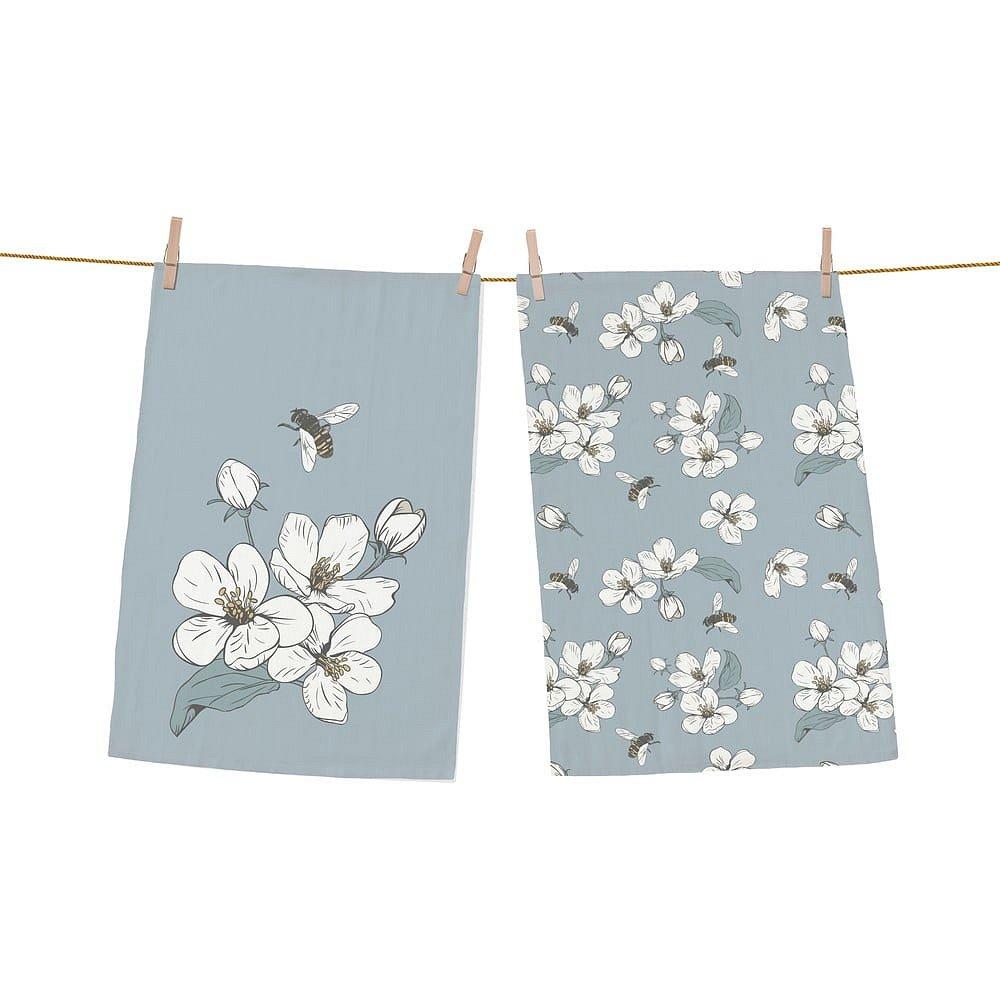 Set 2 kusů utěrek z bavlny Butter Kings Bees and Cherry Blossom, 70 x 50 cm