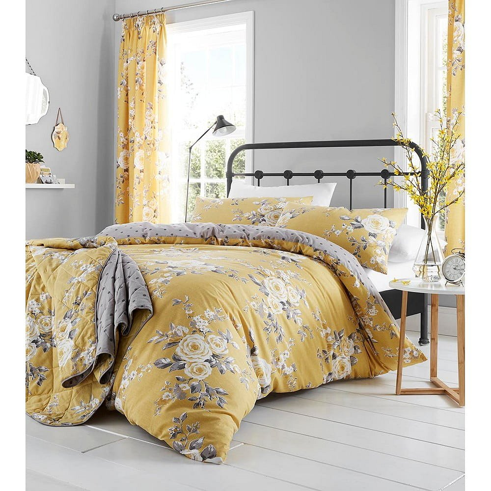 Žluté povlečení Catherine Lansfield Canterbury Rose,200 x 200 cm