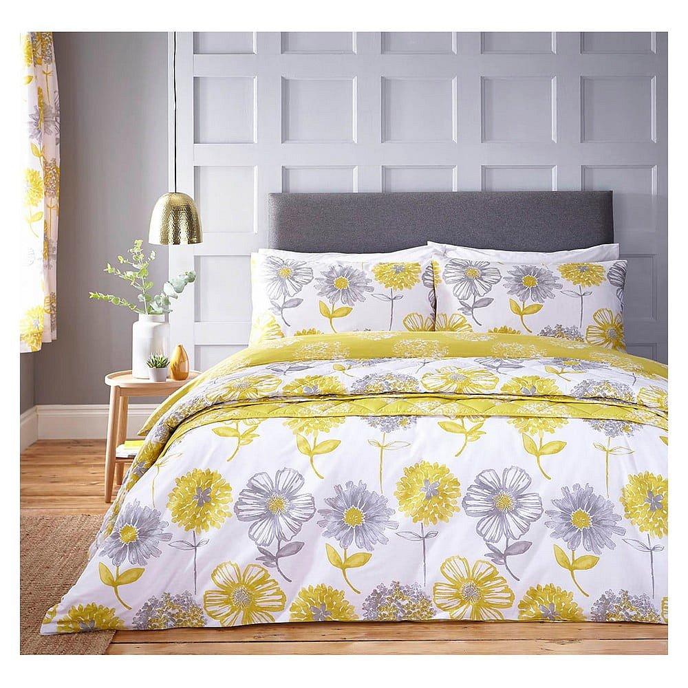Žluté povlečení Catherine Lansfield Banbury Floral, 135 x 200 cm