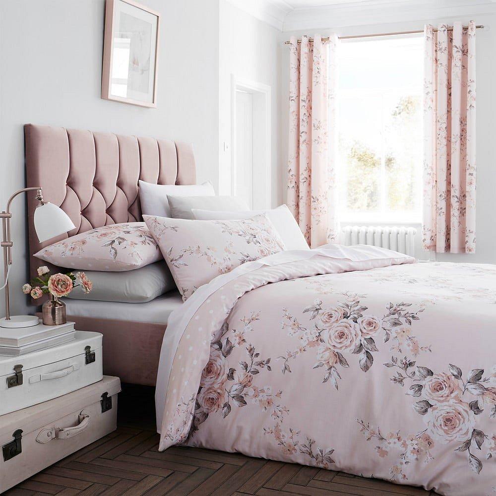 Růžové povlečení Catherine Lansfield Canterbury Rose, 135x200cm
