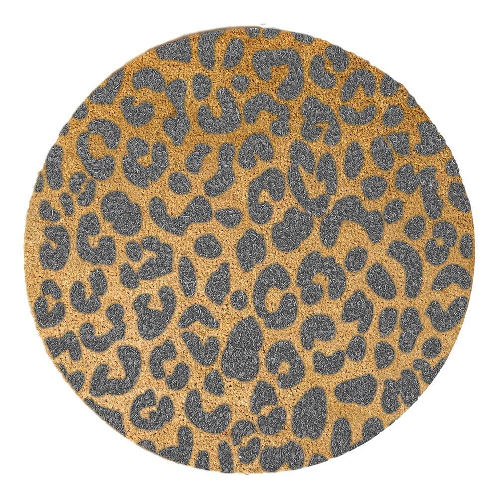 Šedá kulatá rohožka z přírodního kokosového vlákna Artsy Doormats Leopard, ⌀70cm