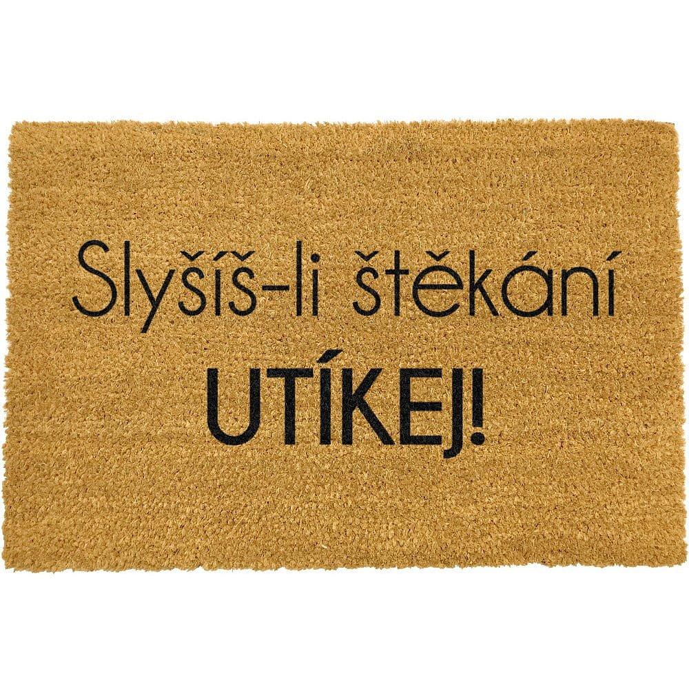 Rohožka z přírodního kokosového vlákna Artsy Doormats Utíkej,40x60cm