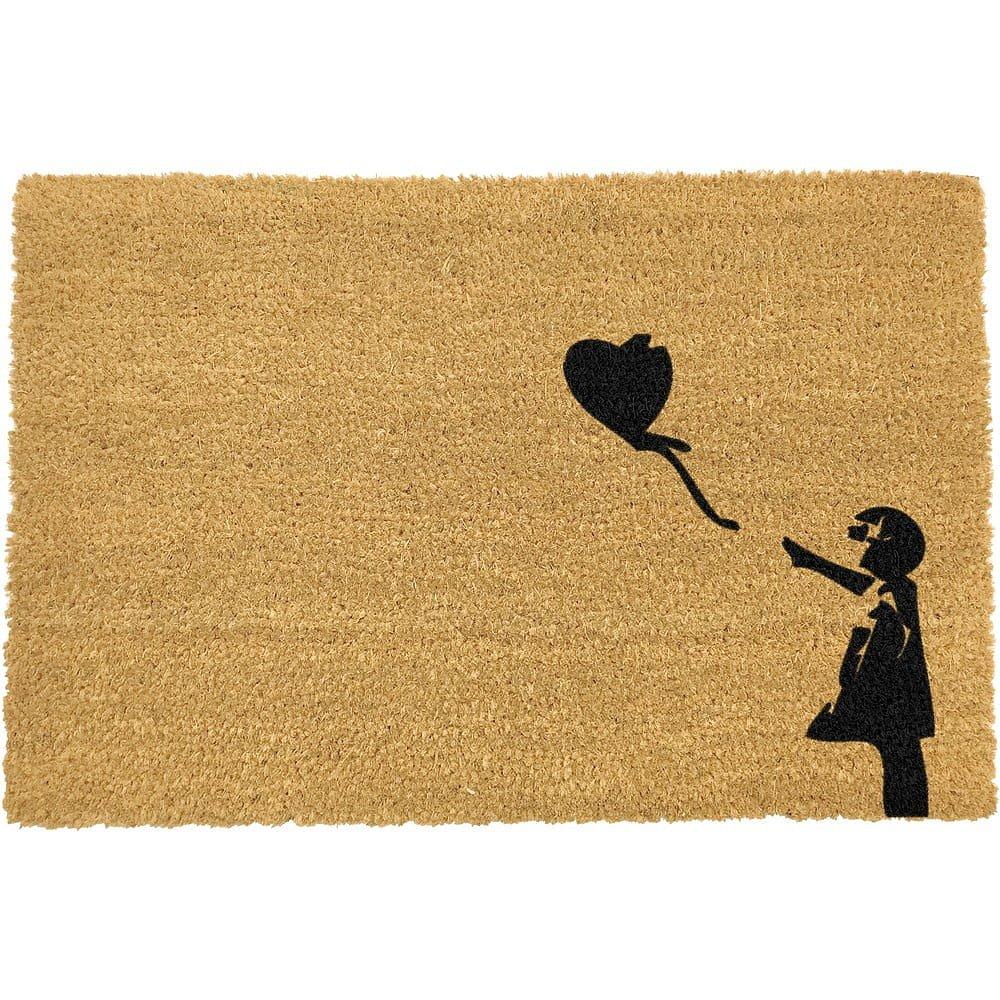 Rohožka z přírodního kokosového vlákna Artsy Doormats Girl with a Balloon Graffiti,40x60cm