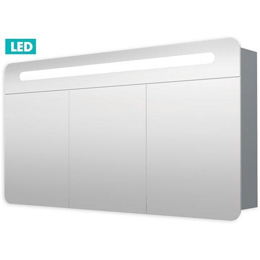 Zrcadlová skříňka s osvětlením Naturel Iluxit 120x65 cm MDF šedostříbrná GALPIR120LED