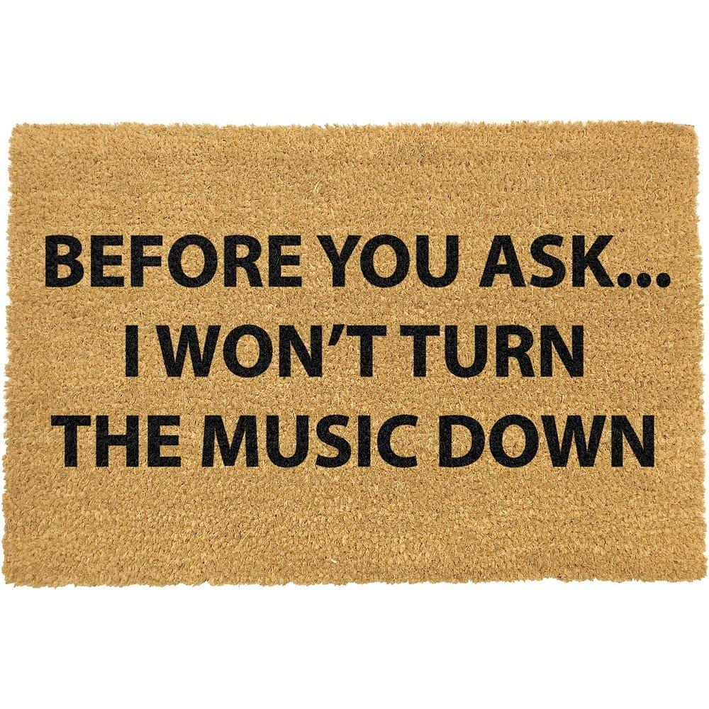 Rohožka z přírodního kokosového vlákna Artsy Doormats Loud Music,40x60cm