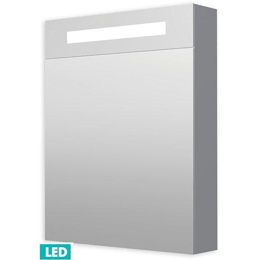 Zrcadlová skříňka s osvětlením Naturel Iluxit 60x75 cm MDF šedostříbrná GALZS60LED