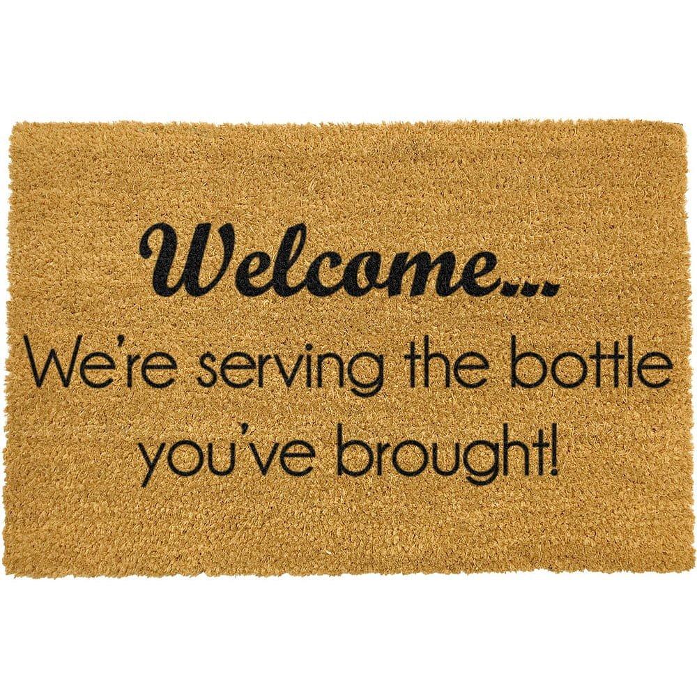 Rohožka z přírodního kokosového vlákna Artsy Doormats Bottle You've Brought,40x60cm