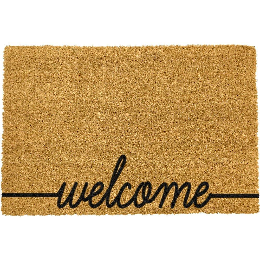 Černá rohožka z přírodního kokosového vlákna Artsy Doormats Welcome Scribbled,40x60cm