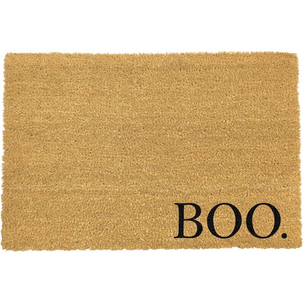 Černá rohožka z přírodního kokosového vlákna Artsy Doormats Boo,40x60cm