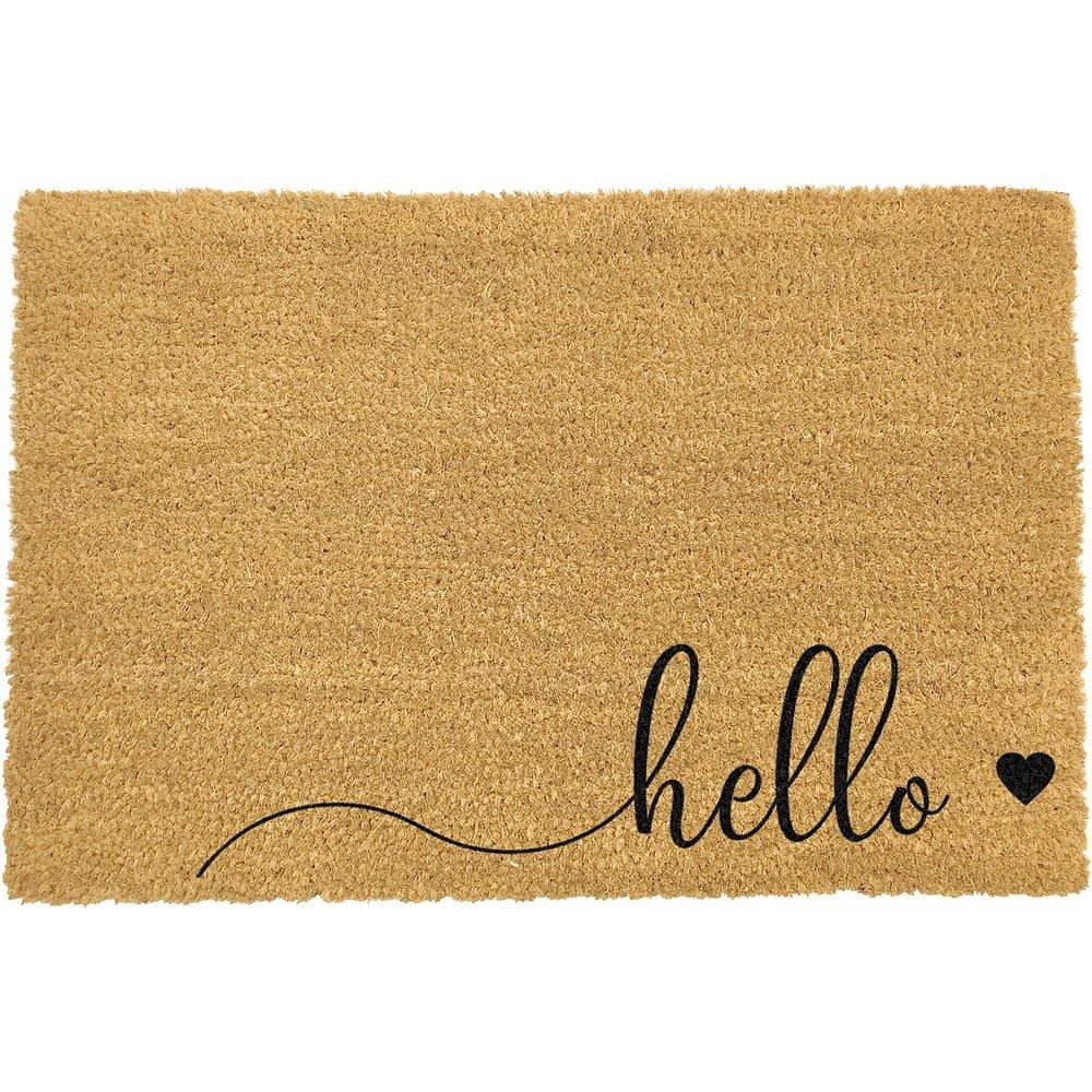 Černá rohožka z přírodního kokosového vlákna Artsy Doormats Hello Scribble,40x60cm