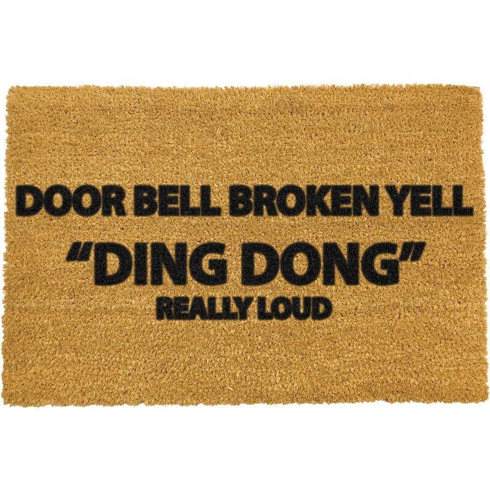 Rohožka z přírodního kokosového vlákna Artsy Doormats Yell Ding Dong,40x60cm