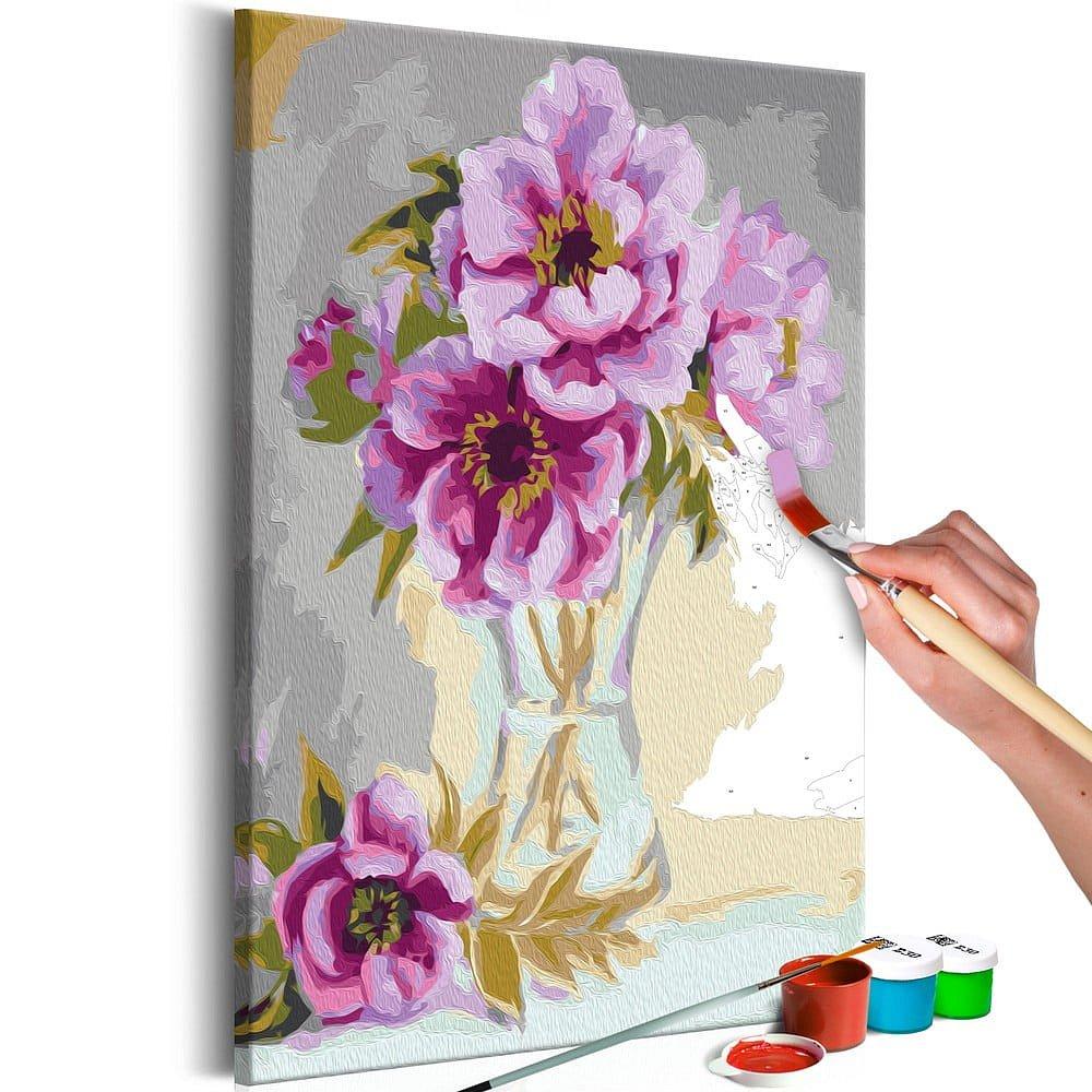 DIY set na tvorbu vlastního obrazu na plátně Artgeist Vase Flowers, 40x60 cm