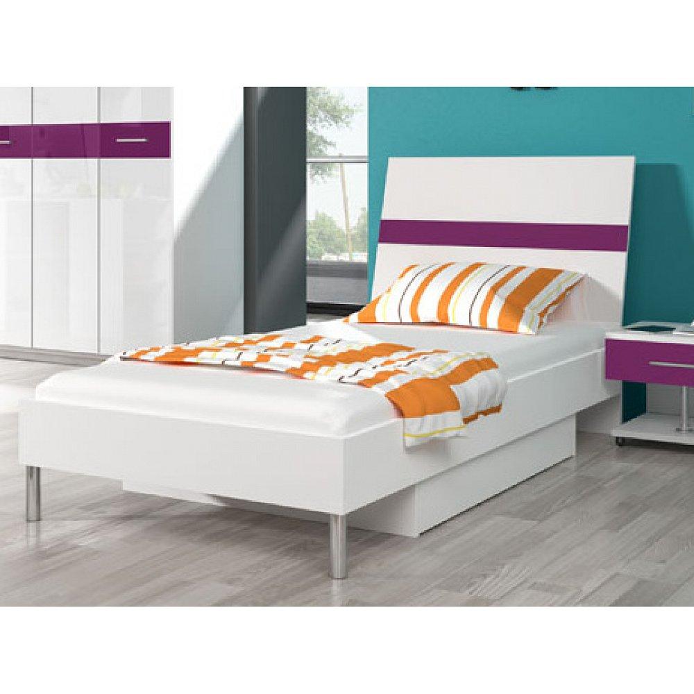 Postel 90x200 cm RAJ 1, bílá/fialový lesk