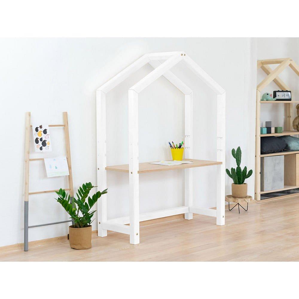 Bílý dřevěný stůl ve tvaru domečku Benlemi Stolly,97x39x133cm