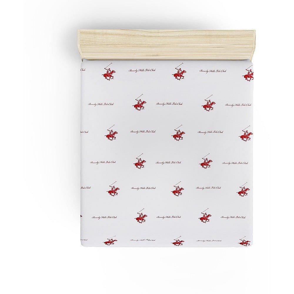 Neelastické prostěradlo na dvoulůžko s červenými detaily Beverly Hills Polo Club Clancy, 240x260cm