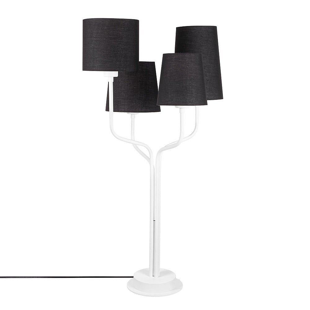 Bílá kovová stolní lampa s černými stínidly Opviqlights Aposto