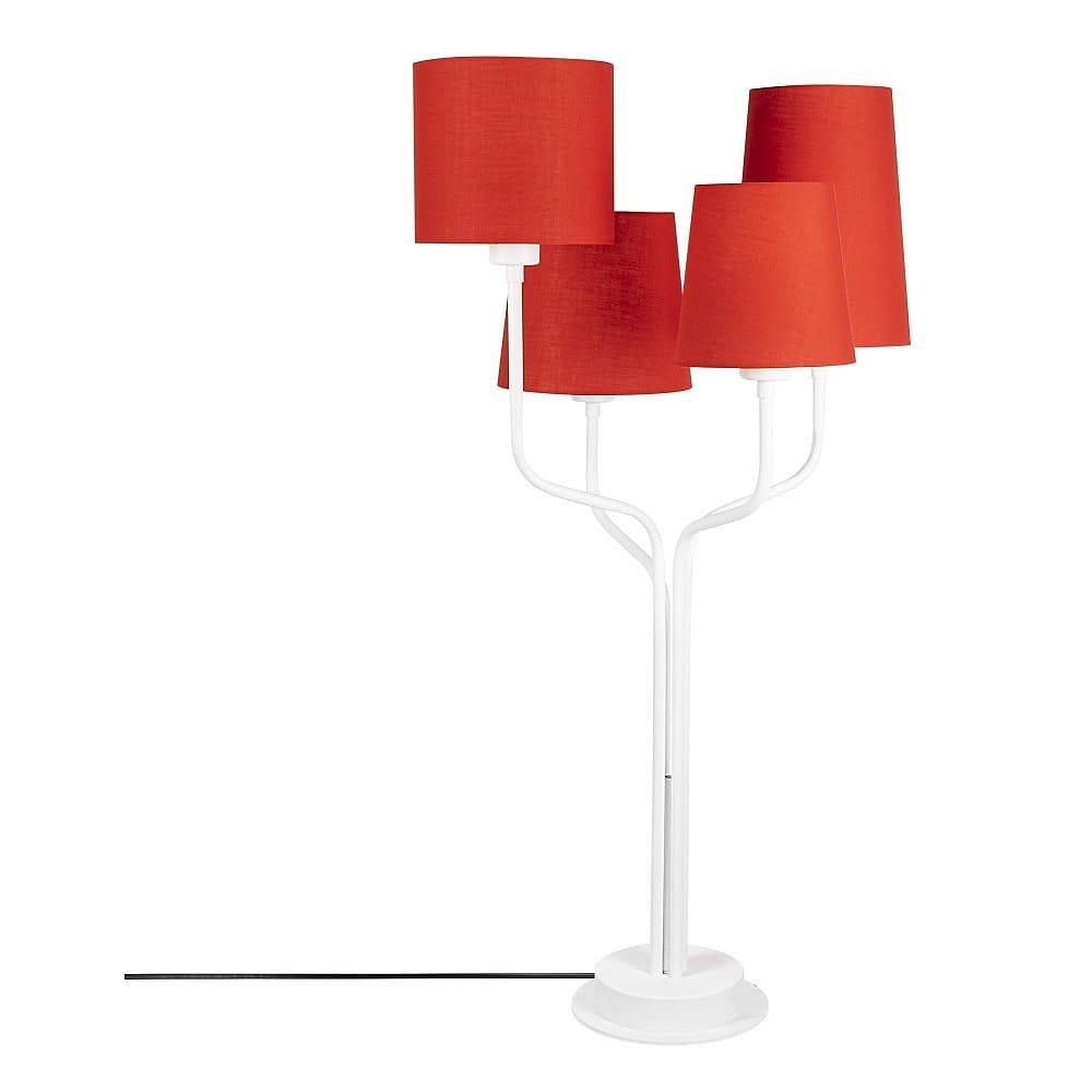 Bílá kovová stolní lampa s červenými stínidly Opviqlights Aposto