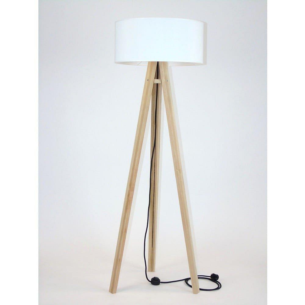 Stojací lampa s bílým stínítkem a černým kabelem Ragaba Wanda