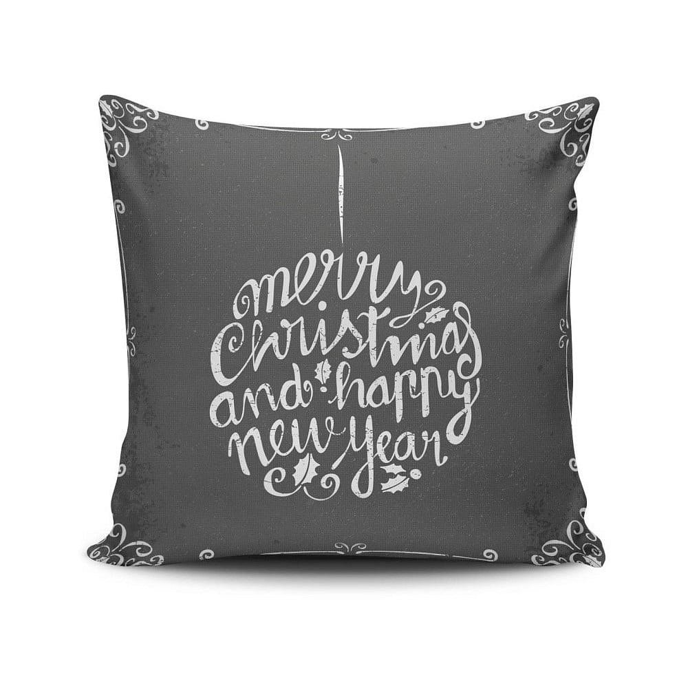Šedý polštář Christmas, 45x45 cm